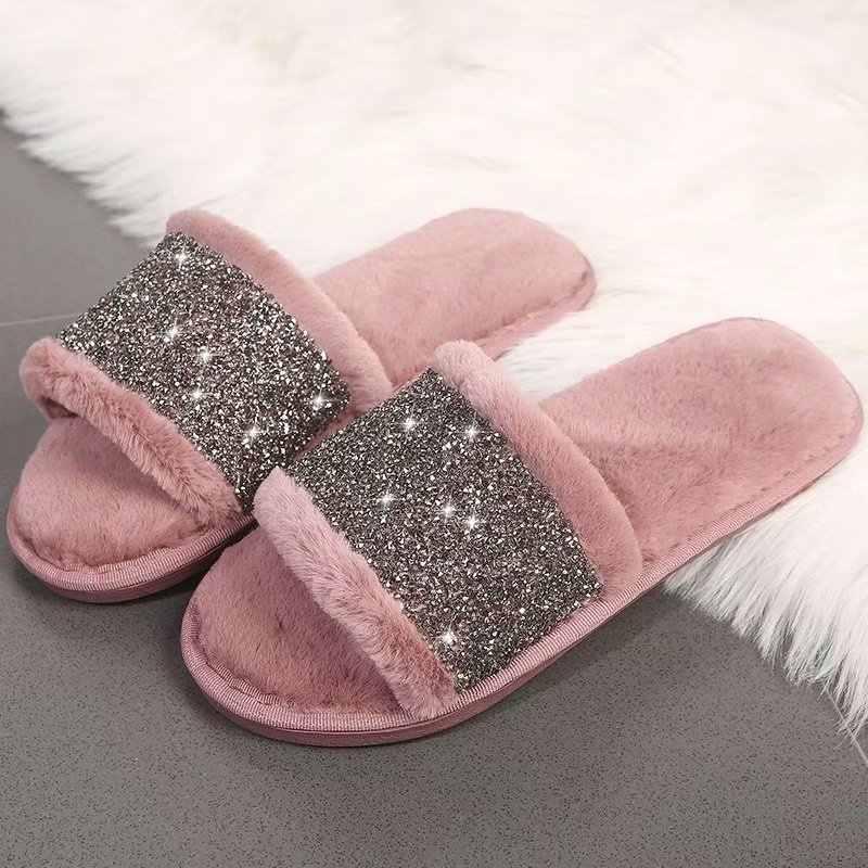 Womens Rhinestone Fluffy Slipper Slip On Fur Sliders Mule Flip Flop Home Shoes