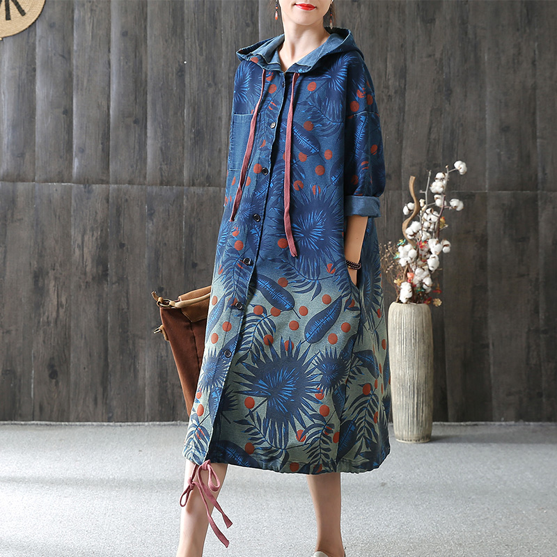 2018 female new autumn and winter national trend print plus size outerwear medium-long with hood denim trench