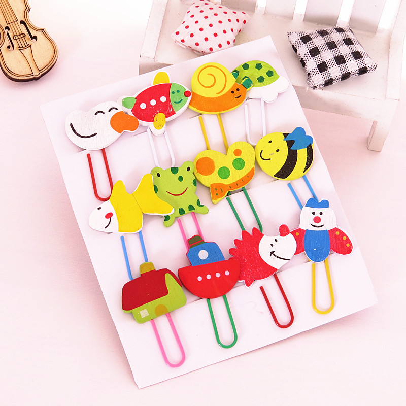12 PCS Student Cartoon Wooden Clips Painted Cute Animal Paperclip Bookmarks Clips Learning Office Supplies A Set Of 12 Colors