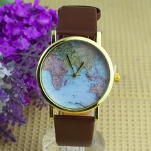 Популярный сплав Для женщин Повседневное Ретро мир Географические карты часы кожа аналоговые кварцевые наручные часы no181 5v5k