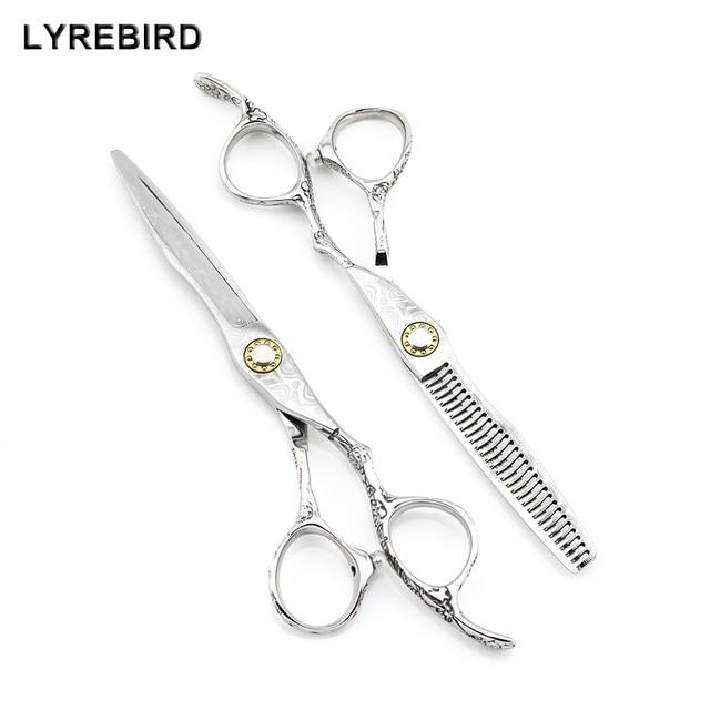 Профессиональные ножницы для волос, 6 дюймов, Япония, 440с, дамасский узор, парикмахерские ножницы, подшипниковый винт Lyrebird, высокое качество, новинка