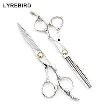 Professional hair scissors 6 INCH Japan 440C Damascus pattern Barber scissors Bearing screw Lyrebird HIGH CLASS NEW
