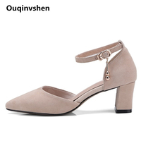 Ouqinvshen Metal Decoration Sexy High Heels Kid Suede Pointed Toe Square Heel Jelly Shoes Woman Fashion Summer Sandals 5.5cm