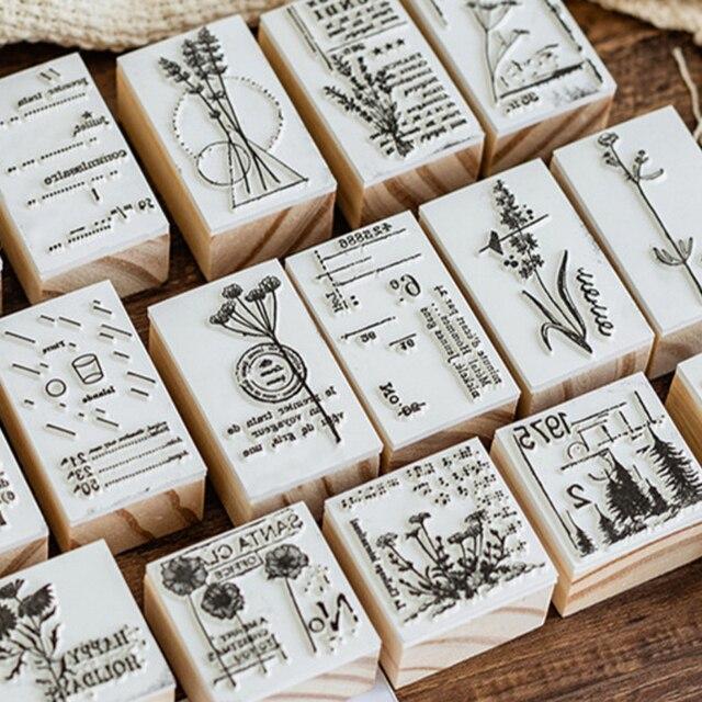 Flower Vintage Plant stamp DIY wooden rubber stamps for scrapbooking stationery scrapbooking standard stamp