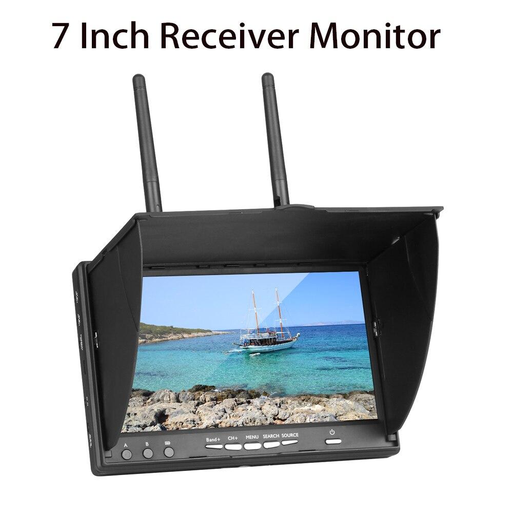 Alta calidad LCD5802S 5802 40CH Raceband 5,8G 7 pulgadas Monitor receptor de diversidad 800*480 con incorporado batería Para cuadricóptero FPV-in Partes y accesorios from Juguetes y pasatiempos    1