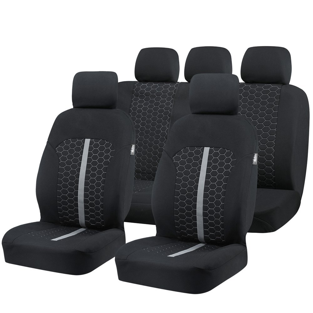 Car Seat Covers, Fabric Seat Covers, Breathable Full Set Front Back Cover, with 5 Detachable Headrests, Fit Most Car, Truck, Suv universal pu leather car seat covers for toyota corolla camry rav4 auris prius yalis avensis suv auto accessories car sticks