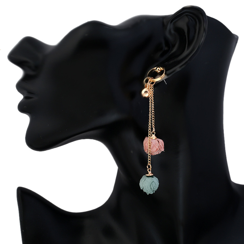 2017 Unique Irregular Length Long Dangle Earrings Flower Drops Ear Jewelry Beads Tassel Earrings Gold Color
