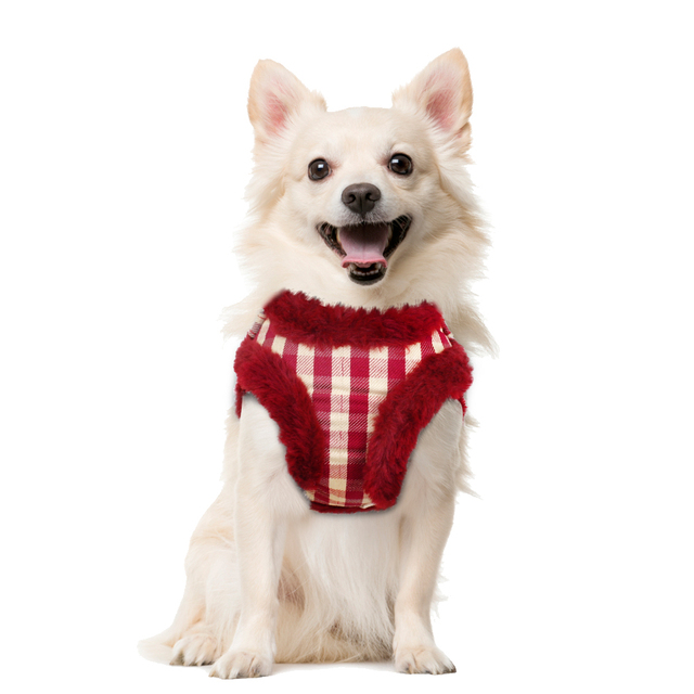 Soft Puppy Dog Cat Harness Leash Set Warm Padded Plaid Pet Harnesses Vest Christmas For Small Medium Dogs Chihuahua Yorkie S M L 2