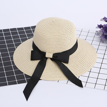 Spring and summer straw hat folding sun visor hat butterfly knot beach cap  Leisure holiday sun 642f9ca3a2b8