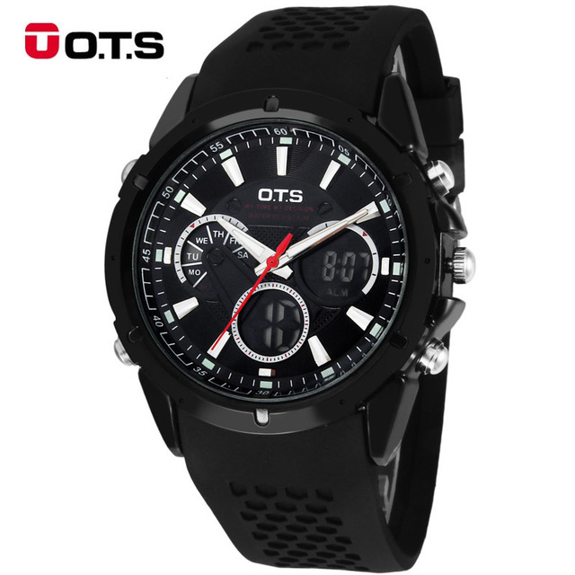 Top Brand Luxury OTS Sport Watch Auto Date Day LED Alarm Black Rubber Band Analog Quartz Military Men Digital Watches relogio ots top brand luxury analog digital digital drive analog waterproof alarm watch men quartz wristwatch sport military 8007