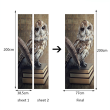 Owl Standing On Book  Door Stickers