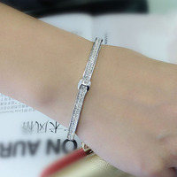 Fashion H Letter Design White Gold Color Plated Love Luxury Brand Bracelets For Women Micro Pave
