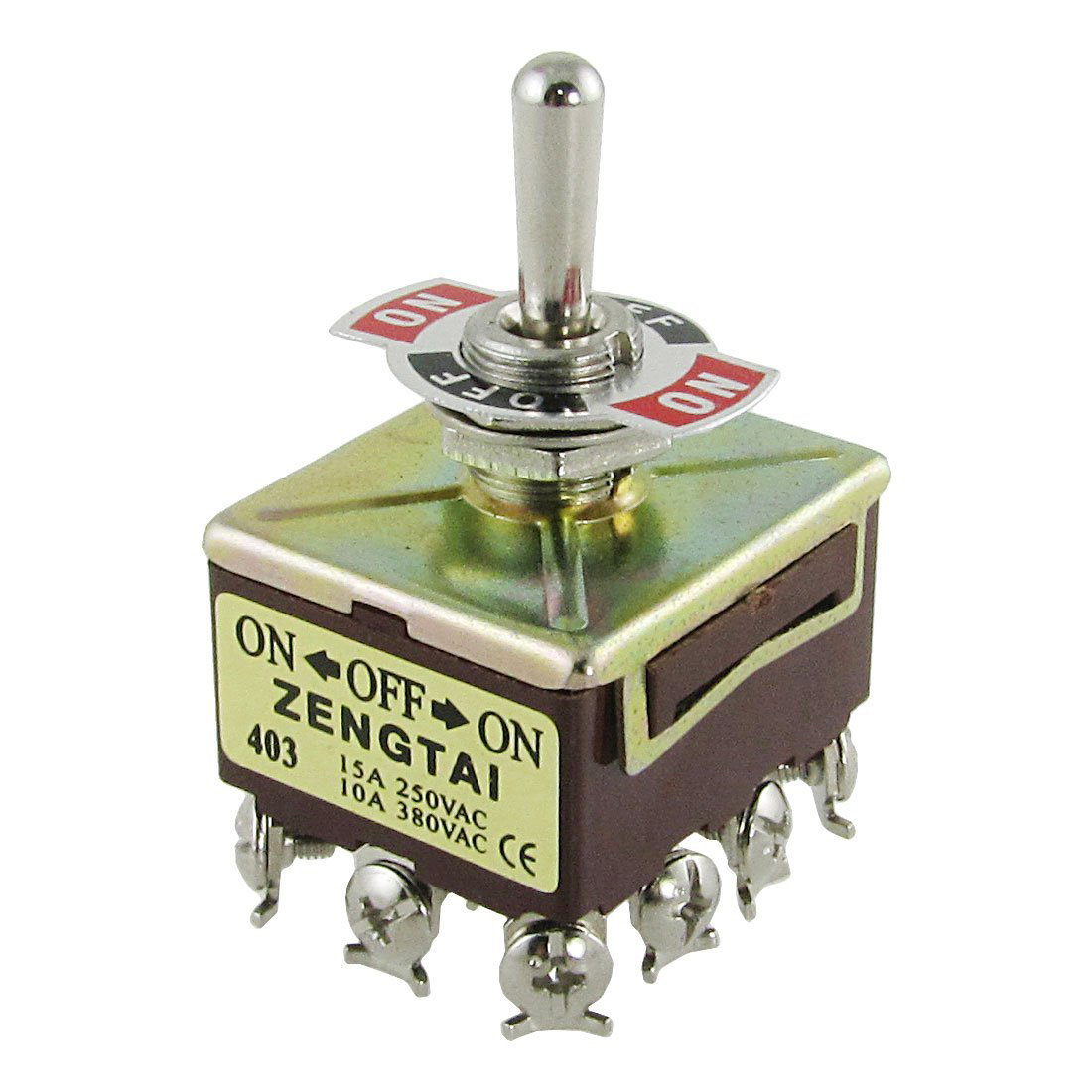 ZENGTAI 10A/380VAC 15A/250VAC 3 Position 4PDT ON/OFF/ON 12 Pin Toggle Switch image
