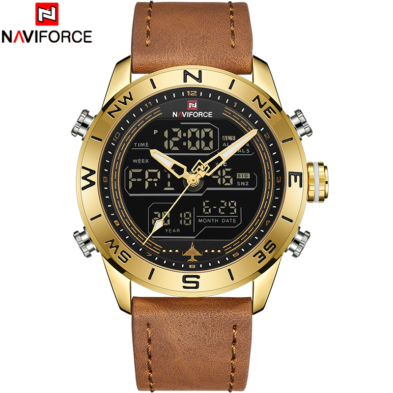 NAVIFORCE Fashion Top Brand Men Watch Leather Waterproof Quartz Wristwatches Mens LED Military Sport Clock Relogio MasculinoNAVIFORCE Fashion Top Brand Men Watch Leather Waterproof Quartz Wristwatches Mens LED Military Sport Clock Relogio Masculino