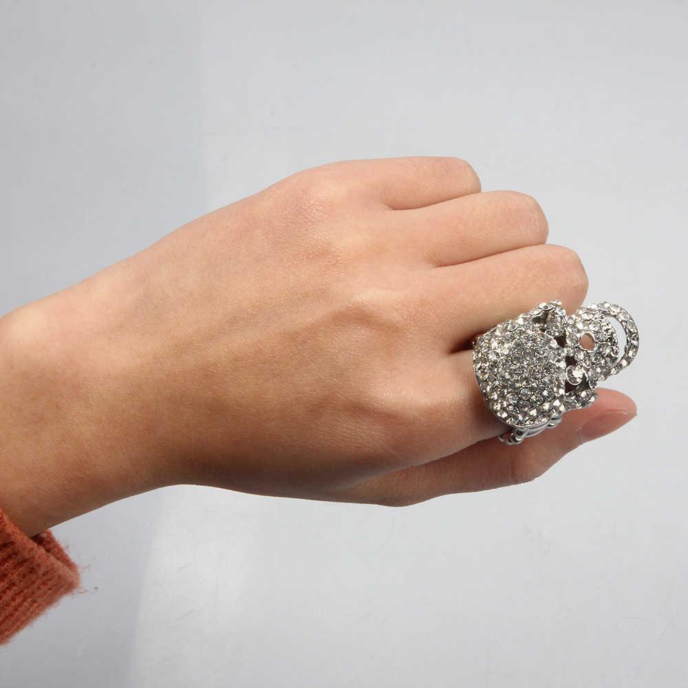 SUKI esqueleto Punk hombres Bague plata cráneo anillos gótico femenino cristal encanto anel caveira aleación de Zinc anillo masculino Halloween joyería