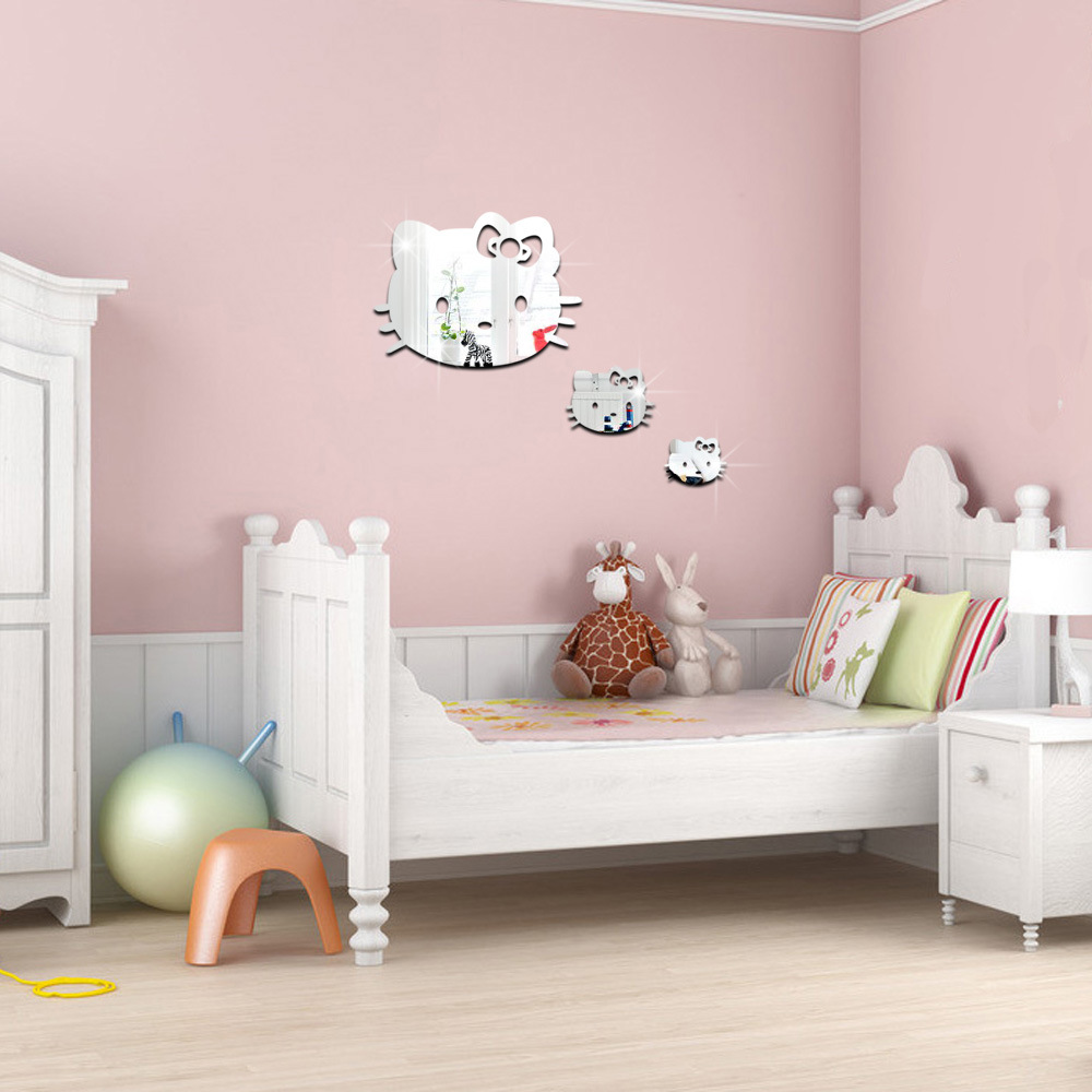 Hello kitty bedroom wall stickers - 3d 3pcs Cartoon Hello Kitty Wall Sticker Kids Bedrooms Decoration Acrylic Wall Mirror Room Decoration Diy Art Home Decor In Wall Stickers From Home Garden