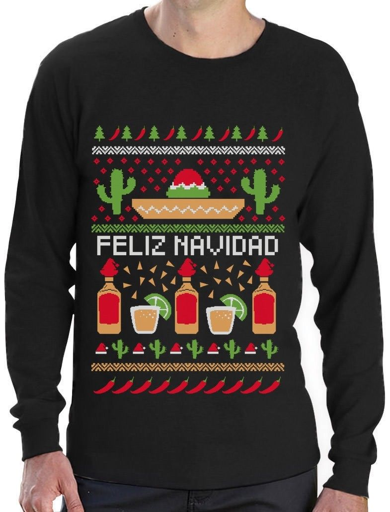 Feliz Navidad Mexican Ugly Christmas Sweater Funny Xmas Long Sleeve T-Shirt Gift ...