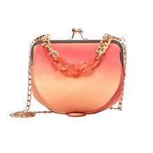 Badouqiu Fashion PU Leather Women Messenger Bag Lady Gradient Ramp Shoulder Chain Brand Small Designer Mini Crossbody A5