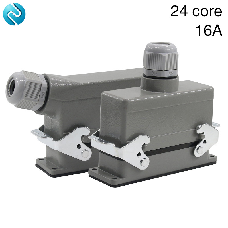 цена на Rectangular H24B - HE - 024-1 heavy duty connectors 24 pin line 16 a500v screw feet of aviation plug on the side