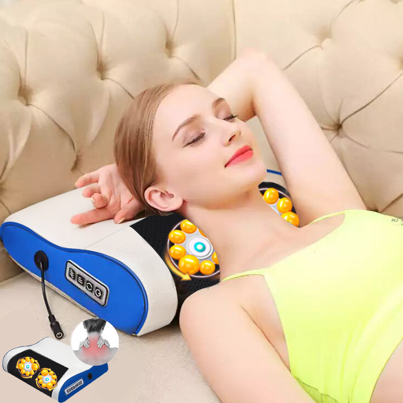 все цены на Infrared Heating multi-function neck massage pillow electric cervical massager household kneading body back massage cushion