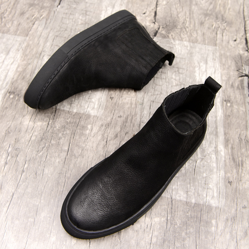 2018 spring autumn new Fur Ankle Chelsea Boots Men Shoes Male Casual Genuine Leather Quality Slip On fashion Cowhide Boot Man 2016 new spring 100% real genuine leather formal brand man italian ankle boots men s slip on cowboy rubber shoes gl282