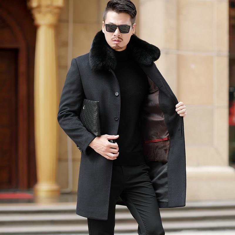 Nuovo Il Vestiti Gioventù Cappotto grigio Miscele Sciarpa Lana Nero Degli  Inverno Di 75 Longtrench Pelliccia Uomini Modo Cachemire 1891 Y5wHan 4de133142fb