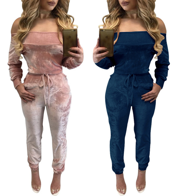 2017 Women Elegant Off Shoulder Velvet Jumpsuit Slim Overalls Casual Drawstring Long Pants Candy Color Jumpsuits Romper MC5297