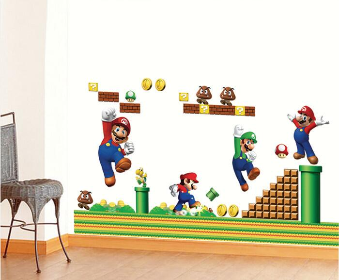Aliexpress com   Buy Super Mario Bros Boy Cartoon Wall Stickers Kids Rooms  vinly Bedroom Decoration Decals Children Art WallPapers Home Decor Mural  from. Aliexpress com   Buy Super Mario Bros Boy Cartoon Wall Stickers
