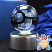 Free Shipping Dropship Supplier Pokemon Go Blastoise Crystal Glass Ball With LED Base As Christmas Gifts