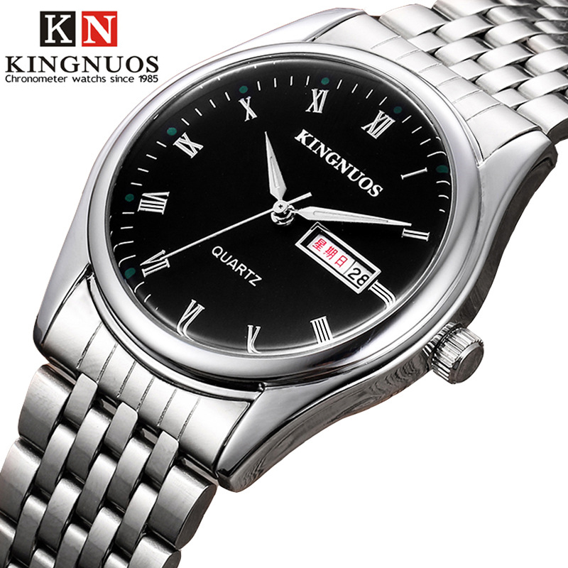 Genuine KINGNUOS Fashion Casual Mens Womens Wristwatch Roman Numerals Auto Date Stainless Steel Strap Quartz Lover Watch Relogio