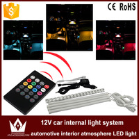 4Pcs Car RGB LED Strip Light Auto Wireless Remote Control Decorative Flexible Atmosphere Lamps Neon Interior