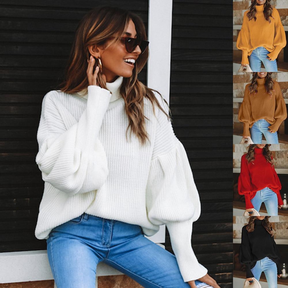 S-XL autumn winter knit sweater women Lantern Sleeve sweaters  casual turtleneck womens coats clothes