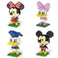 Micky Familia Nano bloques Bloques de Construcción de Diamantes Modelos Minnie Pato Donald Goofy Mini Figura de Acción de Juguete Educativo para niños