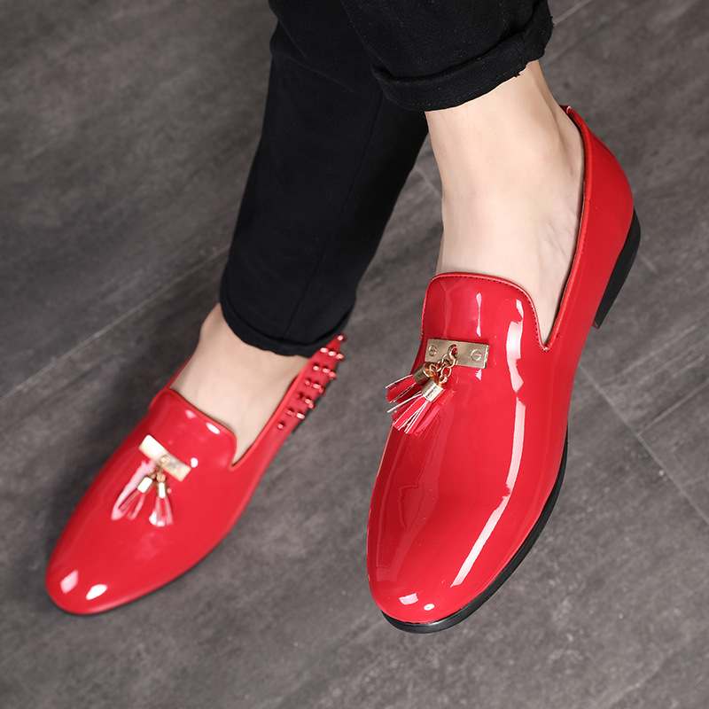 M-anxiu 2020 Formal Shoes For Christmas Party Rivet Tassel Oxfords Shoes Male Fashion Bright Business Wedding Leather Shoes