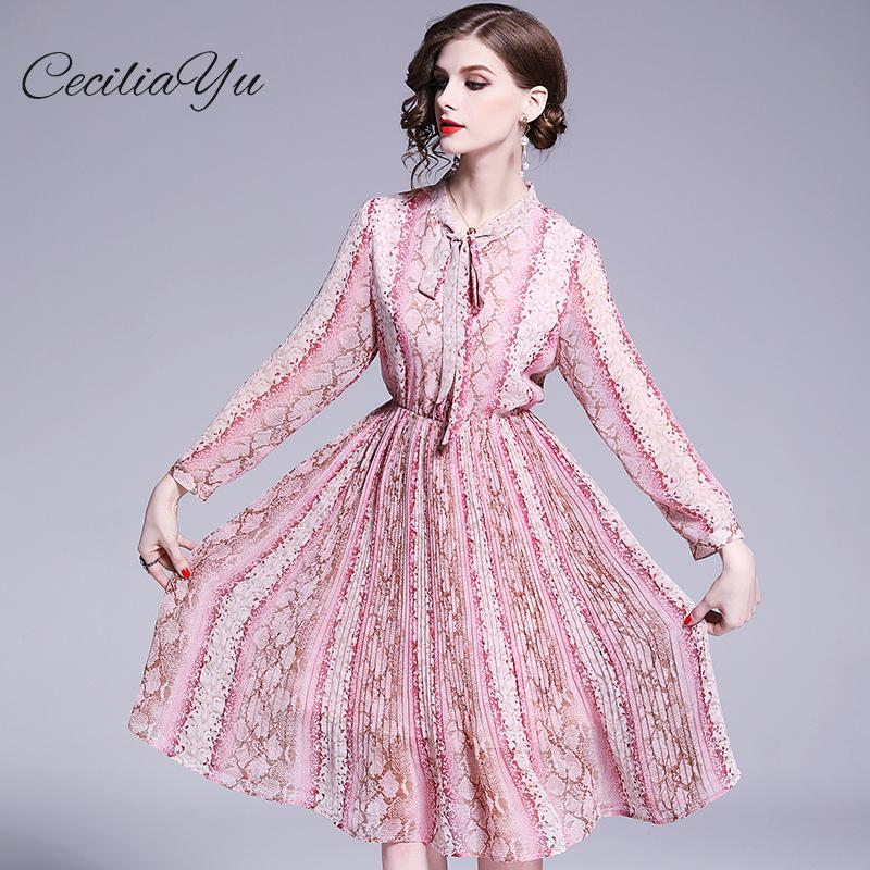 Nouvelle grande taille Maxi/mousseline de soie/Vintage/boho/Elengant robes femmes tenue décontracté Ceciliayu printemps et été robe 2019