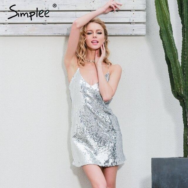 7ad1e892a897 Simplee Profondo Scollo a v argento sequin sexy del vestito Delle Donne  eleganti del partito di sera