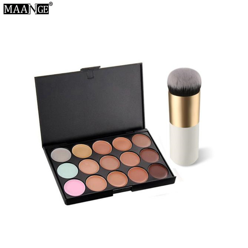 15 Colors Face Concealer Camouflage Cream Contour Palette+1 pcs Powder Foundation Makeup ...