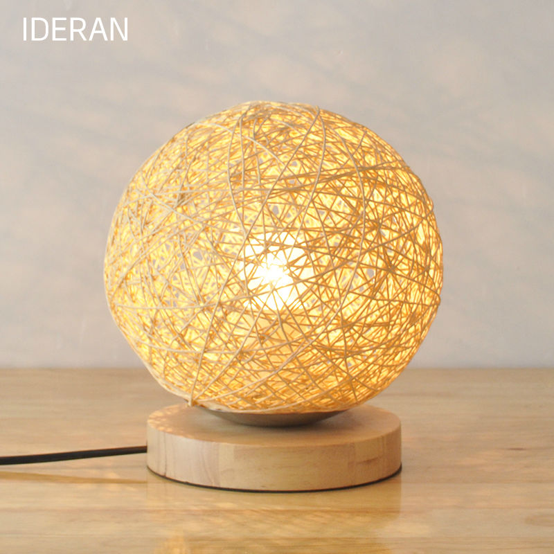 ФОТО Antique retro table light dining room candle holder lamp mesalamps rattan lamp LED bedroom light