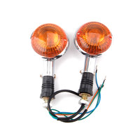 2 Pcs A Pair Amber Motorcycle Orange Lens Front Turn Signal Indicator Flashers For Virago XV250