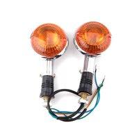 2 Pcs A Pair Amber Motorcycle Orange Lens Front Turn Signal Indicator Flashers For Virago XV250