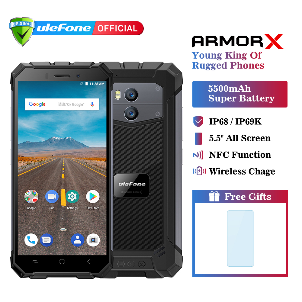 "Ulefone Armor X IP68 Waterproof Mobile Phone Android 8.1 5.5"" HD Quad Core 2GB+16GB NFC Face ID Wireless Charge Smartphone"