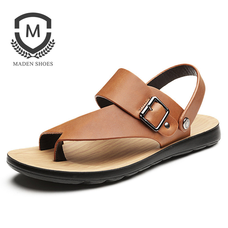 Maden 2018 New Summer Men sandals Genuine Leather Fashion Open toed Flip Flops Quality Breathable Metal Button Beach Shoes
