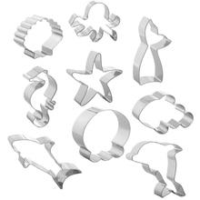 Beach Cookie Cutter Set-9pc-Dolphin,Clownfish,Mermaid Tail,Octopus,Seahorse,Starfish,Seashell,Jellyfish,Shark-Stainless Steel