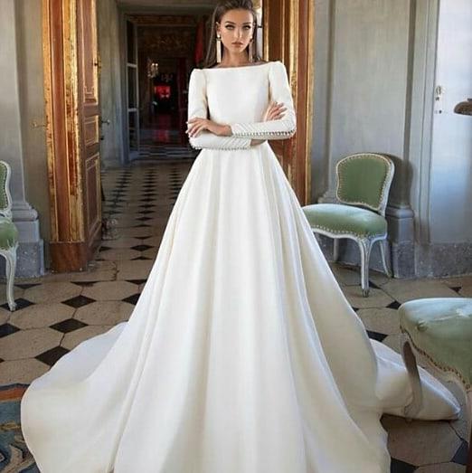 Eslieb Full Long Sleeves Custom made wedding Dress 2019 Soft Satin Button Wedding Dresses