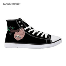 Twoheartsgirl Cute Sloth Canvas Shoes for Women Autumn High Top Flats Women Vulcanized Shoes Factory Outlet Female Casual Shoes недорого