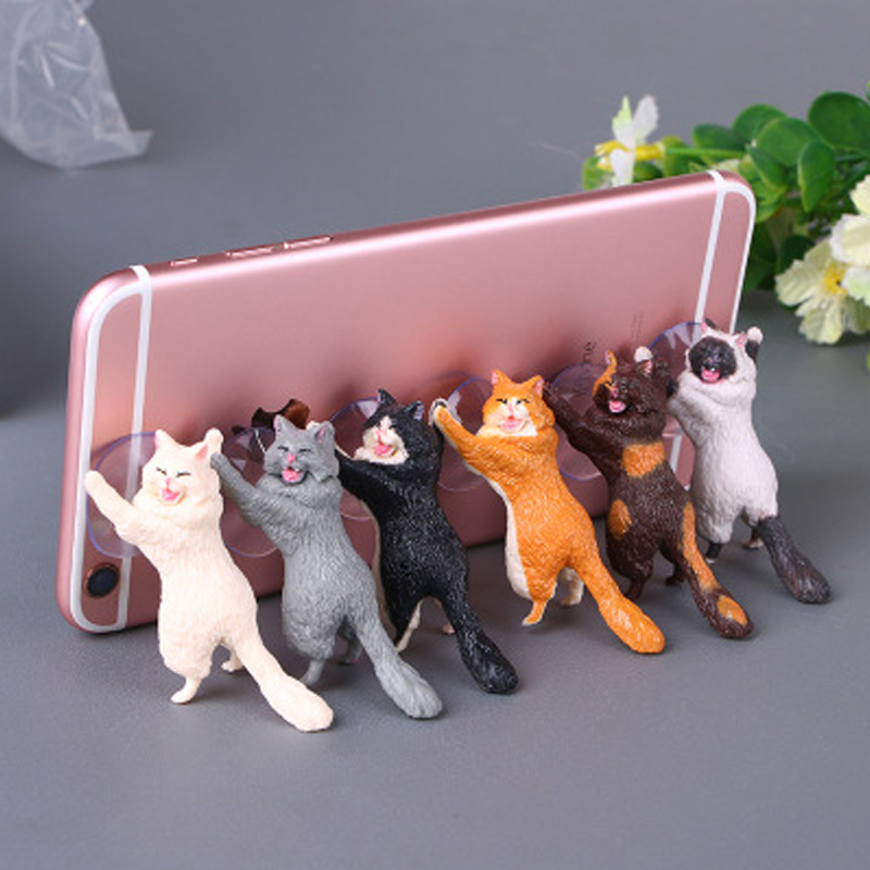 BUYRUO Mobile Phone Holder Cute Cat Support Resin Stand Sucker Tablets Desk Design Smartphone