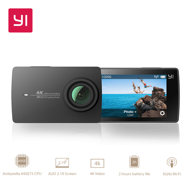 "YI 4K Action Camera International Version Edition Ambarella A9SE Sports Mini Camera ARM 12MP CMOS 2.19"" 155 Degree EIS LDC WIFI"