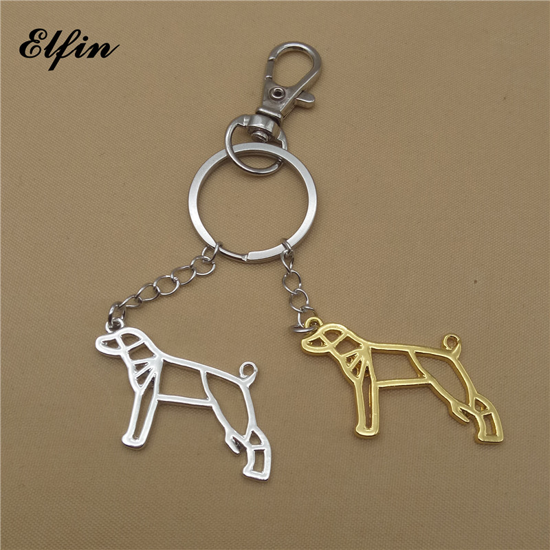Elfin Trendy Origami Whippet Keychains Gold Color Silver Color Origami Pet Jewellery Greyhound Key Rings For Women Men Pet Lover