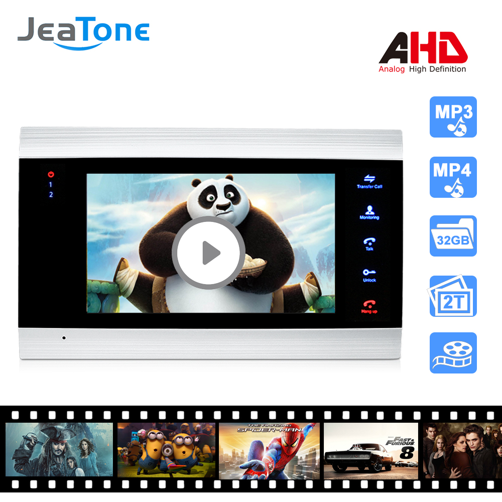 7 Inch Video Intercom 720P/AHD Video Door Phone Security System Voice Message/Motion Detection (Monitor Only)