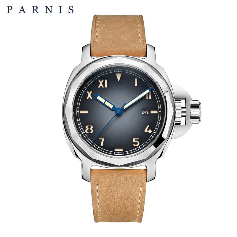 44mm Brand Parnis Men Mechanical Automatic Watch Watches Sapphire Glass GenuineLeather Strap Luminous Siwmming Dive Wristwatch mechanical watches tourbillon men watch parnis 44mm power reserved sapphire luminous genuine leahter steel black watches relojes